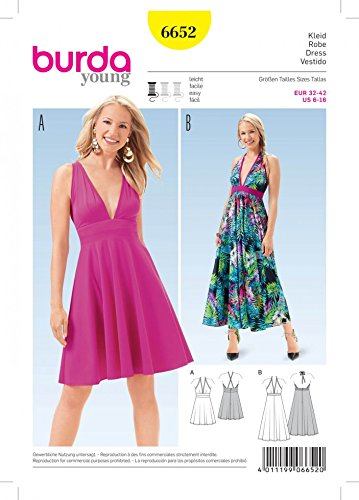 Burda Ladies Easy Sewing Pattern 6652 Halterneck Summer Dresses ...