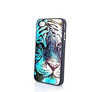 Iphone 4/4s Case, Generic Phone Accessories Slim Matte Skin Hard Plastic Case Cover Splash Tiger for Apple Iphone 4 4s (Black)