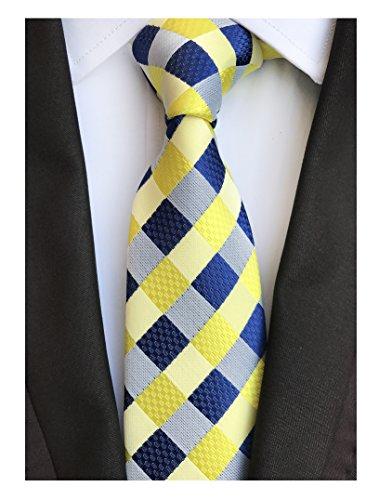 Mens Navy Blue Yellow Fashion Style Designer Inspired Tie Pretty Birthday Gifts -
