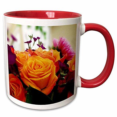 3dRose Dawn Gagnon Photography Florals - Joyous Bouquet, A colorful burst of flowers in a joyful arrangement - 15oz Two-Tone Red Mug (mug_120456_10)