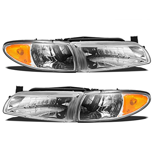 Partsam Headlight Assembly Compatible with Pontiac Grand Prix 1997 1998 1999 2000 2001 2002 2003 Side Front Headlamps Replacement Left Right Chrome Housing w Halogen Bulbs (Driver and Passenger Side) ()