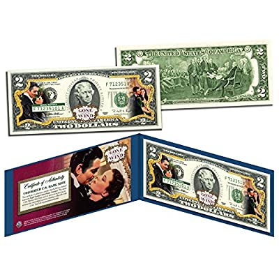 GONE WITH THE WIND Movie Colorized $2 Bill US Legal Tender *OFFICIALLY LICENSED*: Everything Else
