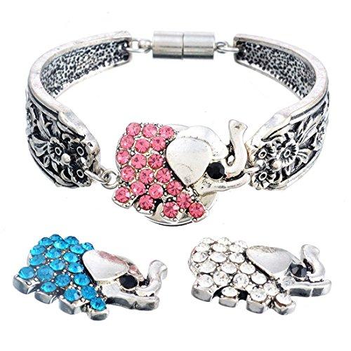 Souarts Mixte Strass Forme Elephant Boutons à Pression pour Bracelet Collier Bague 5.5mm 3PCS