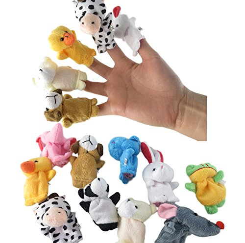 10Pcs Family Finger Puppets Cloth Doll Baby Educational Hand Cartoon Animal Toy(BB0041) - Cloth Infant Puppets