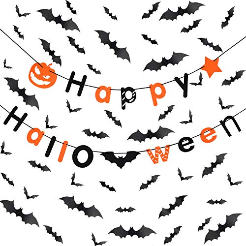 Gejoy DIY Halloween Party Supplies Decorations Set 60 Pieces Scary PVC 3D Black Bats Wall Decals Wall Stickers and 1 Piece Happy Halloween Banner with Bat Pumpkin Element]()