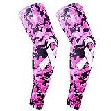 COOLOMG (1 Pair) Pink Ribbon Breast Cancer Awareness Compression Arm Sleeves Basketball Baseball Football M