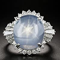 Carat Blue Star Sapphire 925 Silver White Sapphire Cocktail Ring Wedding Jewelry (6)