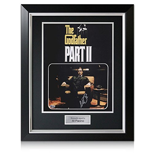 Al Pacino Signed Godfather 2 Film Poster In Deluxe Black Frame With Silver Inlay