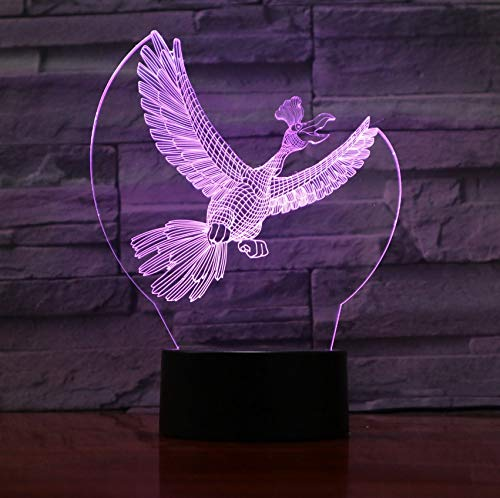 Acryl Panel Crow 7 Bunte Vogel 3D Illusion Lampe LED Lava Lampe USB 7 Farben Ändern Kinder Schlafzimmer Stimmung Beleuchtung