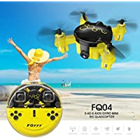 Ounice Beetle Mini Pocket Drone , FQ777 FQ04 360°Flips LED lights Beetle Mini Pocket Drone with Camera Headless Mode RC Quadcopter RTF (Yellow)