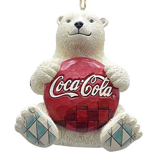 Enesco Coca-Cola by Jim Shore 4059722 Coke Polar Bear with Coke Logo Hanging - Cola Coca Decorations Christmas