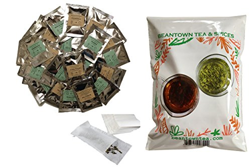 Beantown Tea & Spices - Tea Sampler Value Pack. 30 Gourmet Loose Leaf Tea Samplers & 100 Filters. Variety Pack. Great Gift Idea and Stocking Stuffers. Green, White, Black and Herbal Teas