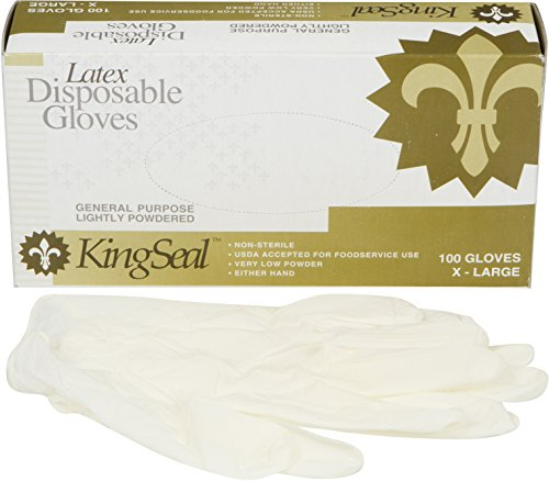 KingSeal Powdered Ivory Latex Disposable Gloves, 4 mils thick - Medium, 4 Pack/100 per Pack by KingSeal (Image #2)