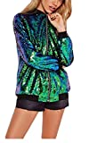 MLG Womens Sequins Full-Zip Lightweight Baseball Bomber Jackets Coat Green US L
