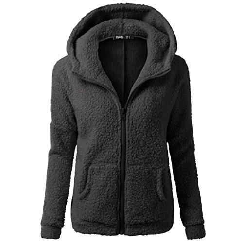 Kstare Women Hooded Sweater Coat Winter Warm Wool Zipper Coat Cotton Coat Outwear Hooded Long Sleeve V Neck Fluff (Black, (Drawstring Wool Sweater)