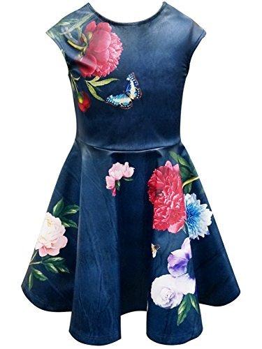 Bat Mitzvah Dress - Hannah Banana Big Girls Tween Faux Leather Party Dress, 7-16 (16, Navy Multi)