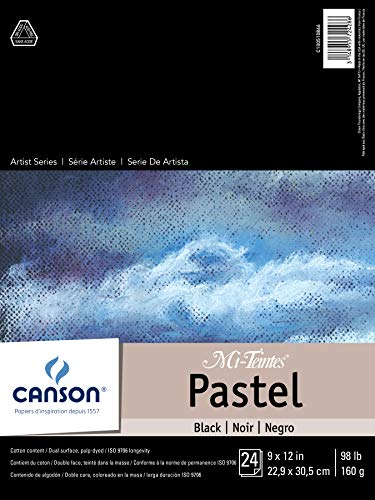 Canson Drawing Mi-Teintes Paper Pad, Dual Sided Textures for Pastels, Charcoals, Pencil, Fold Over, 98 Pound, 9 x 12 Inch, Black, 24 Sheets, 9X12