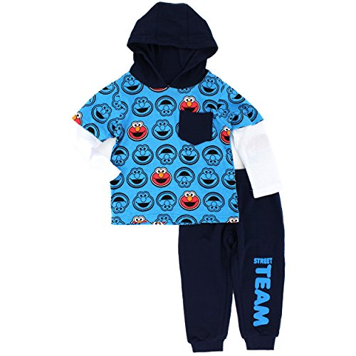 Sesame Street Little Boys' Toddler 2 Piece Elmo 2fer Hoodie with Fleece Pant, Blue, 4T (Elmo Clothes For Toddlers)