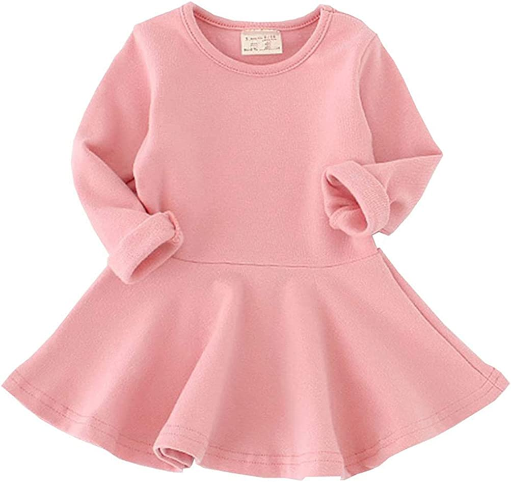 BGIRNUK Girls' Baby Dress Infant Toddler Girl Ruffles Long Sleeves Cotton Dress