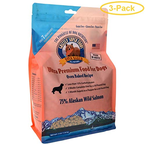 Grizzly Super Foods Oven Baked Alaskan Wild Salmon for Dogs 3 lbs - Pack of 3