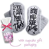 "Passionette Fuzzy Wine Socks:""If You Can Read This Bring Me Some Wine"" Novelty Socks - Gift Idea for Her - Mother's Day, Anniversary, 21st Birthday w/Cupcake Gift Packaging (Shady Lady)"