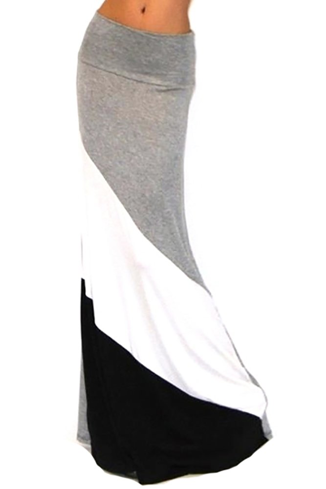 GotStyle Got Style Women's Colorblock Maxi Skirt Ankle Length, Large, Grey/White/Black