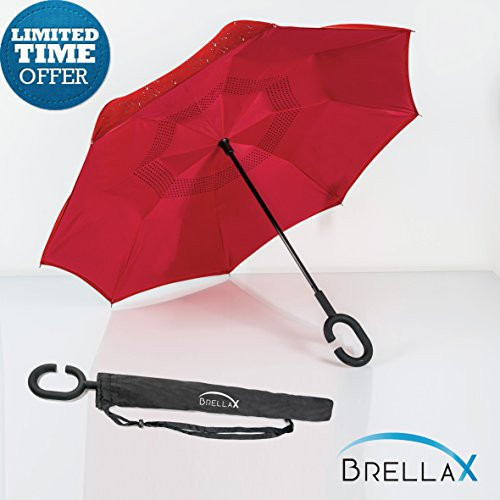 Windproof Double Layer Inverted Umbrella By Brellax - Inside Out Reversible, Folding Umbrella For UV & Rain Protection - C Shape Hands Free Handle - For Car Use - With (Costume Planet Reviews)