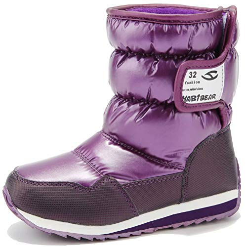 Kids Winter Snow Boots Waterproof Outdoor Warm Faux Fur Lined Shoes with Strap (Purple,8.5 Toddler)
