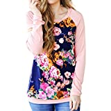 Women Tee,Neartime Floral Print T-Shirt Casual Tops Shirt for Woman Beautiful Flower (L)