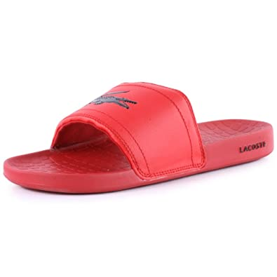 a83fbd633cfc Lacoste Fraisier Slides Mens Fabric Flip Flops Red - 7 UK  Amazon.co.uk   Shoes   Bags