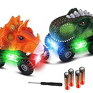 IOO Dinosaur Car Set 2-Pack T-Rex Dino Vehicles Toys Sound Light for Boys Toddlers Gift with Batteries