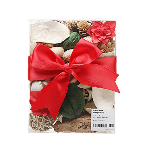 Rina Raspberry Scented Potpourri Box, Dried Flowers and Plants, Rattan Ball, Amra Pods, Mahogany Petals and Rubber Shells. Centerpiece and Gift, 13 Ounce, Red.