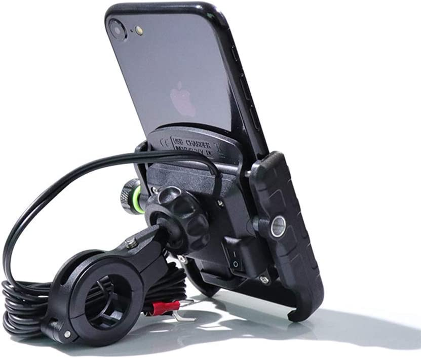 AICH Cell Phone Stand QC 3.0 Mobile Phone Holder USB Charger Motorcycle Handlebar Stand Fast Charging for Samsung Huawei 3.5-6 Phone Bracket Mobile Phone Holder Color : Red