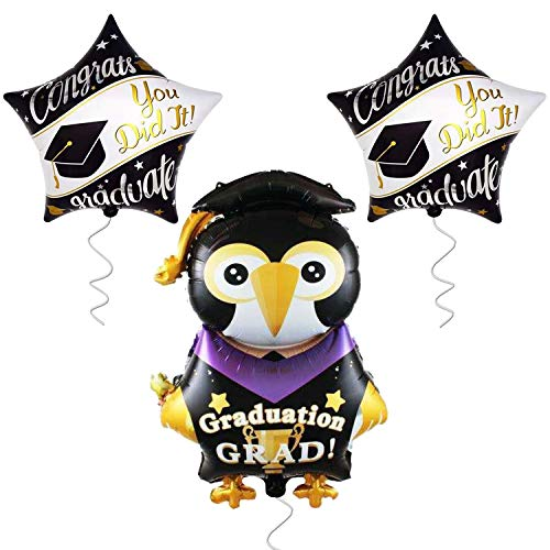 Large Penguin Graduation Balloons for Grad Party-   2 Star Graduation Ballons   Congrats Grad You Did it Balloon   Graduation Party Supplies for High School, Kindergarten Graduation -