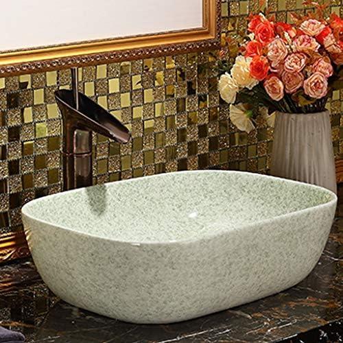 DS- バスルームの洗面台、正方形セラミック家庭用洗面台シンクカウンタ上流域浴室洗面単一盆地(タップ無し)、45.5X32X11.5cm 洗面ボール && (Size : 45.5X32X11.5cm)