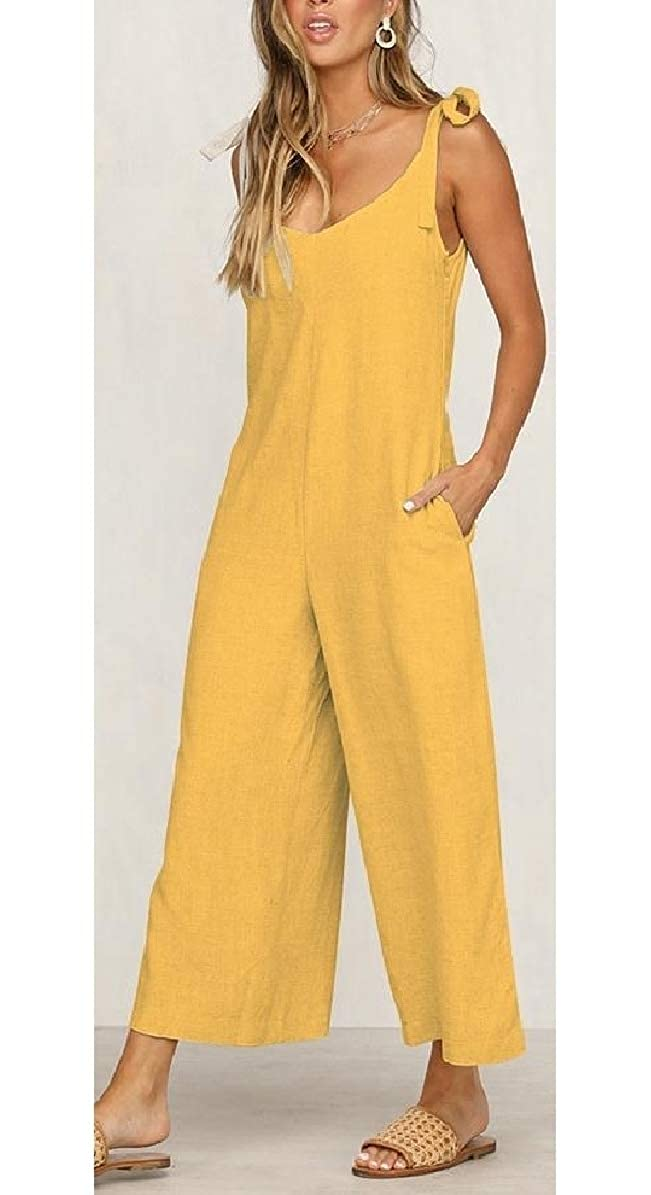 Comaba Women Sleeveless Long Pants Bowknot Comfy Chic Jumpsuits Rompers