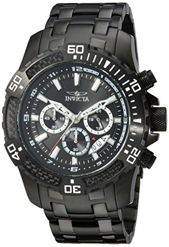 Invicta Men's 'Pro Diver' Quartz Stainless Steel Casual Watch, Color:Black (Model: 24858) ()