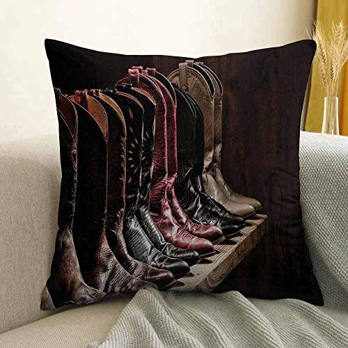 FreeKite Western Silky Pillowcase Photograph of Various Type of Rodeo Fancy Cowgirl Leather Boots Collection Image Art Super Soft and Luxurious Pillowcase W16 x L24 Inch - Mulberry Leather Collection
