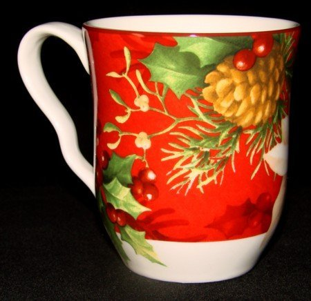 222 Fifth Poinsettia Holly Red Christmas Mugs, Set of 4 ()