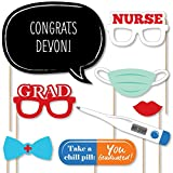 Big Dot of Happiness Custom Nurse Graduation - Photo Booth Props - Personalized Medical Nursing Graduation Party Supplies - 20 Selfie Props