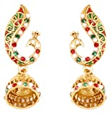 Touchstone Indian Bollywood Enamel/red/Green/White Peacock Jewelry Earrings in Antique Gold Tone for Women