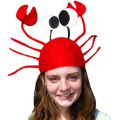 D-Foxes Funny Crab Hat, Red Crawfish Cap for Children's Day Halloween Christmas Easter Decoration Party (Fish Halloween Costume For Adults)