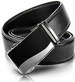 Men's Belts Big and Tall,Black Holeless Ajustable Leather Click Belt (Adjustable from 28''-38'' Waist Size, Silver buckle (Black & Ash))