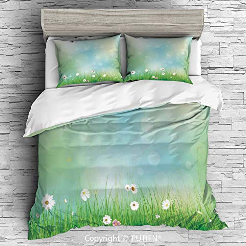 FULL Size Cute 3 Piece Duvet Cover Sets Bedding Set Collection [ Watercolor Flower Home Decor,Fairy Spring Blooms Pattern with Digital Made Bursts Ovary,Green Blue ] Comforter Cover Set for - Fairies Bedding Collection
