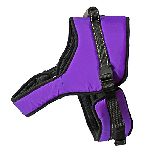 Hand-held Saddle Type Dog Harness, Chest can be adjusted, Bentilation Sponge Net, New Reflective Strip, Purple, XXL (Nxl System)
