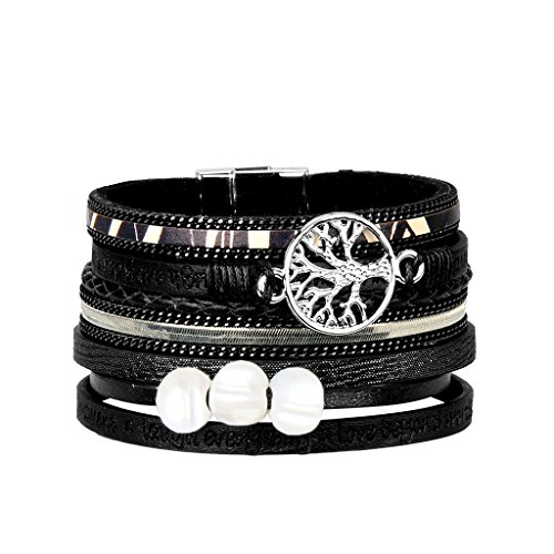 - Jenia Tree of Life Leather Cuff Bracelet Pearl Boho Wrap Bracelet Handmade Gift for Women -Black