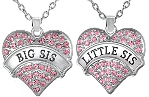 Big Sis & Lil Sis Valentines Day Heart Necklace Set, 2 Sister Necklaces for Teens & Girls, Big & Little Sisters, Best Friends BFF Jewelry Gifts, Granddaughter Birthday Presents (Pastel Pink)