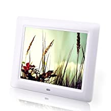Celendi 8 inch 800x600 Hi-Res LED Digital Photo Frame MP3 and HD Video Player with Remote Controller, Clock/Calendar Display, USB/SD Input, wHITE