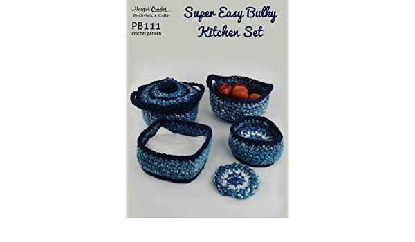 Crochet Pattern Super Easy Bulky Kitchen Set PB111-R