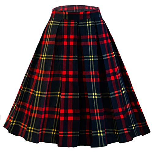 Dressever Women's Vintage A-line Printed Pleated Flared Midi Skirt Plaid (red and Navy) Medium